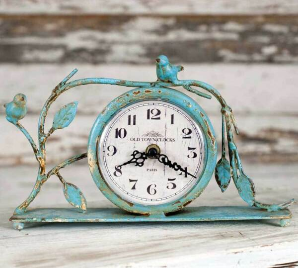 New French Country Cottage Chic Robin Egg Blue BIRD VINE CLOCK Mantel Standing