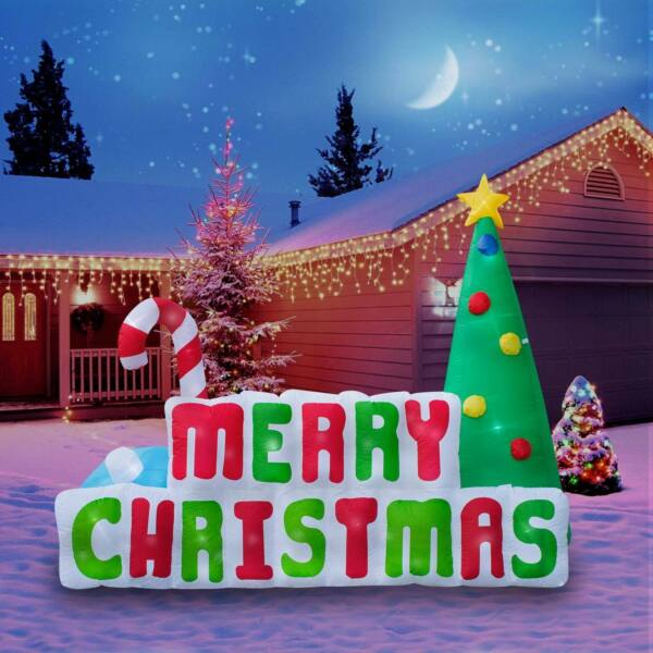 Inflatable Merry Christmas Sign Christmas Decoration with Built in Fan and LED L