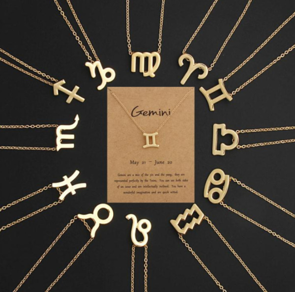 Gold Stainless Steel Zodiac Sign Astrology Necklace