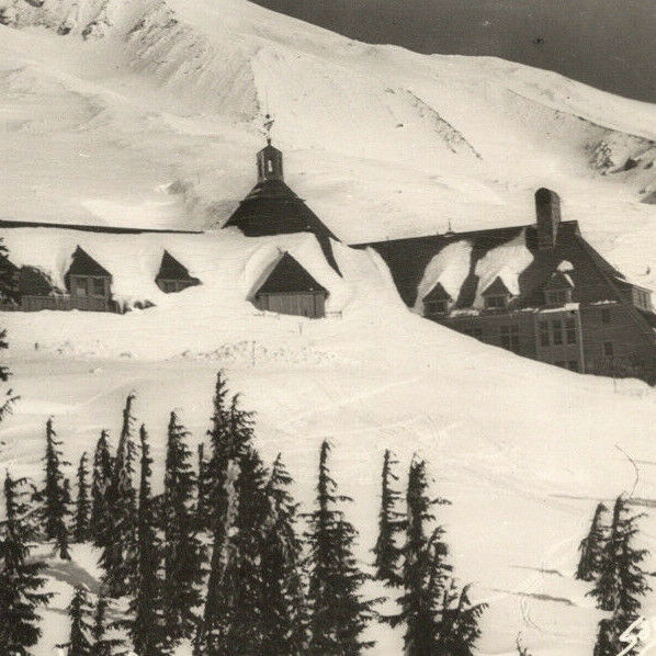 a2 RPPC Timberline Lodge Oregon  buried in snow 145a