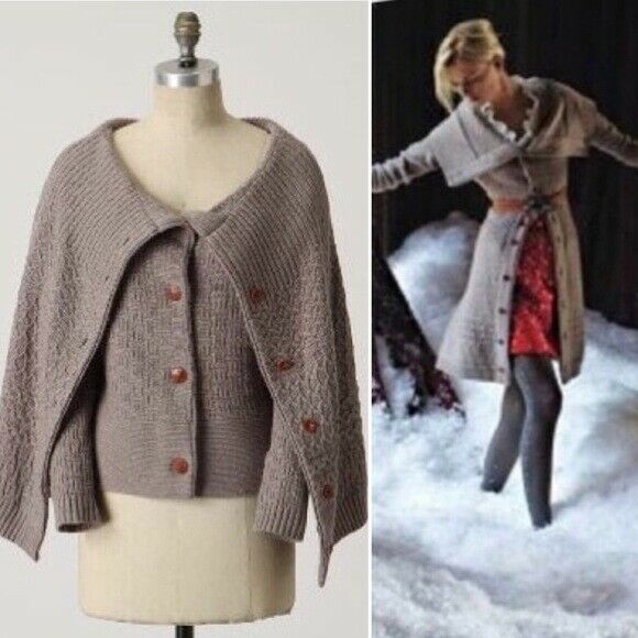 Sleeping on Snow Anthropologie Wool Blend Cape Cable 2in1 Cardigan Sweater S