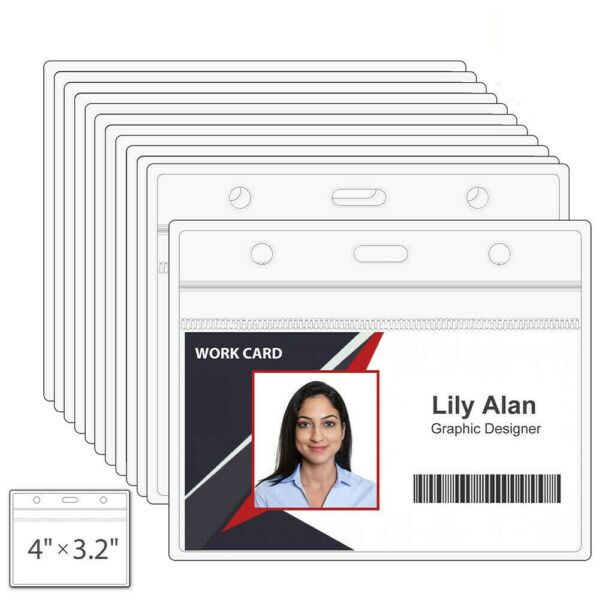Clear Plastic Horizontal Name Tag Badge ID Card Holders 3 x 4#x27;#x27; Non toxic Pack $6.99