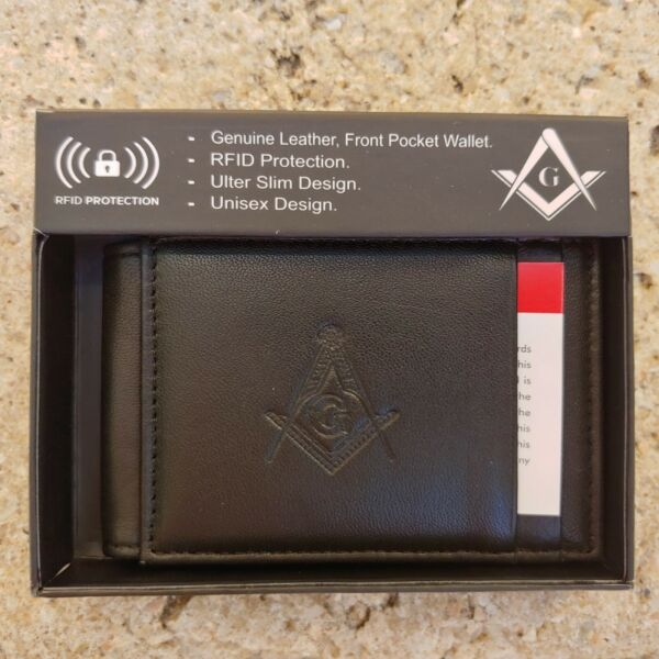 Masonic Black Leather Magnetic Fold RFID Wallet Mason Embossed Square and Compas $18.99