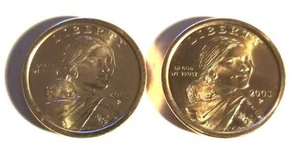 2003 P & D $1 Sacagawea Native American Gold Dollar  2 Coin Set From Mint Rolls