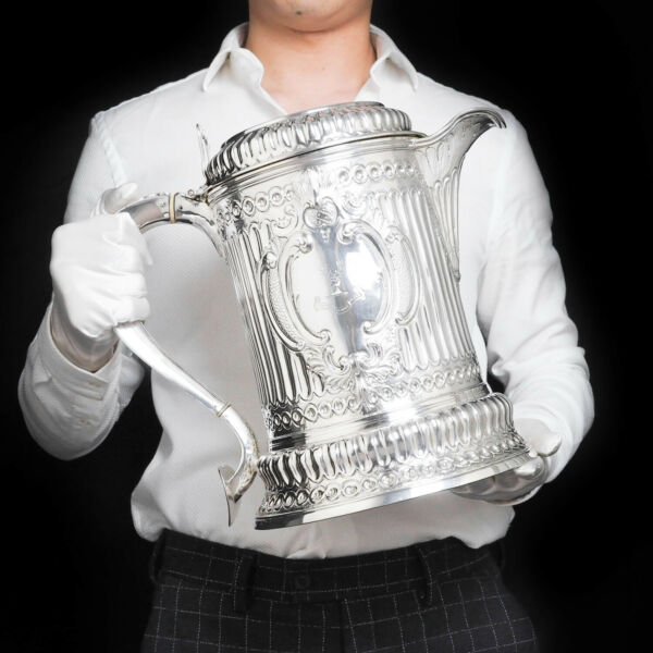 Enormous Solid Silver Flagon  Tankard of The Hicks Family - London 1864