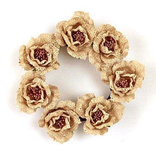 New Rustic Country Cottage Shabby Chic CREAM BURLAP ROSE CANDLE RING Wreath 4quot;