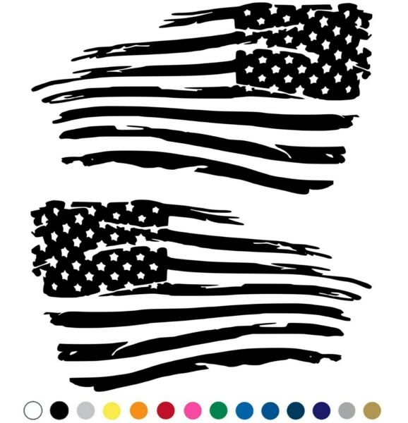 Distressed American Flag Decal Fender Door Sticker - Set of 2 for LEFT and RIGHT