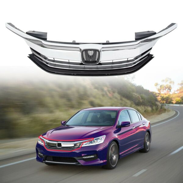 Front Replacement Upper Bumper Grille Grill For 2016-2017 Honda Accord 4DR