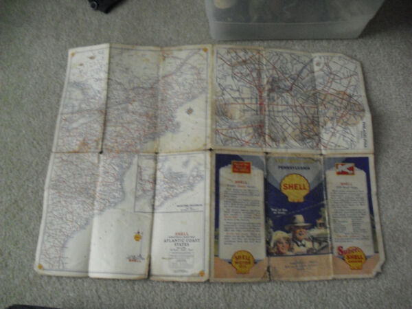 Vintage 1930 Shell Gas Station Pennsylvania Road Foldout Map
