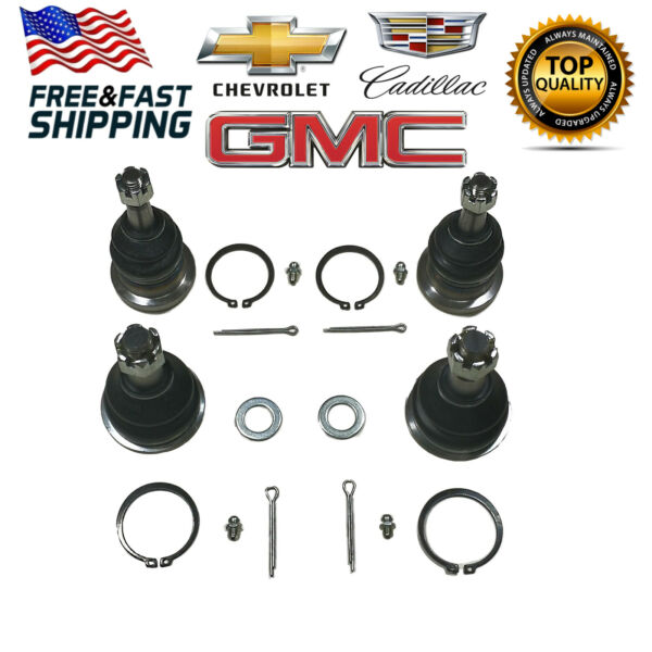 4pc Kit: Front Upper and Lower Ball Joint Set for Torsion Bar Steel Control arms