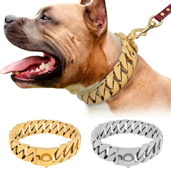 Luxury Dog Chain Collar Stainless Steel Big Large Dog Heavy Duty Choker Necklace $79.99