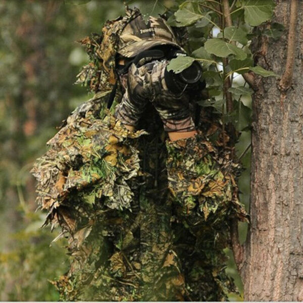 Leaf Ghillie Suit Woodland Camo Camouflage Clothing 3D jungle Hunting M L