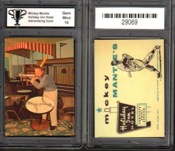 Mickey Mantle Holiday Inn Hotel Ad Promo Card GRADED ASG 10 MINT