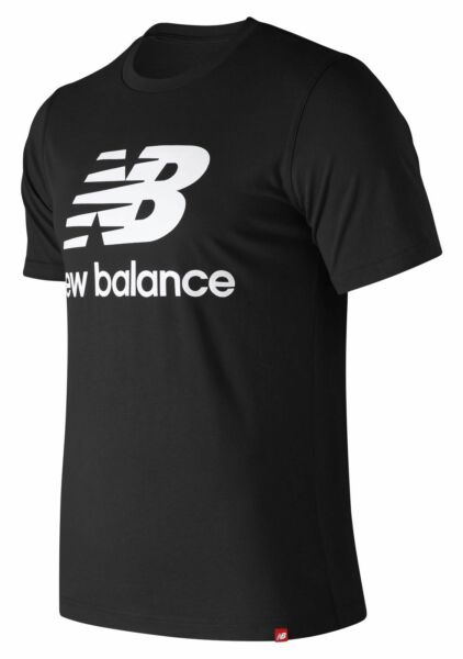 New Balance Men's Essentials Stacked Logo Short Sleeve Tee Black Size L