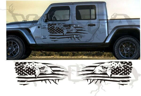 2x Vinyl Decals For Jeep Gladiator  - Eagle Large American Flags Graphics USA