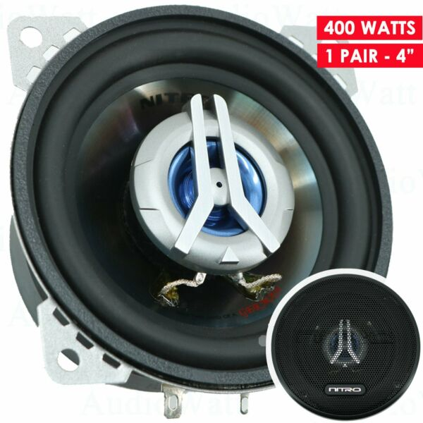 2x Nitro BMW 3344 400 Watts 4quot; Car Audio 2 Way 4 Ohms 4 Inches Coaxial Speakers $24.99