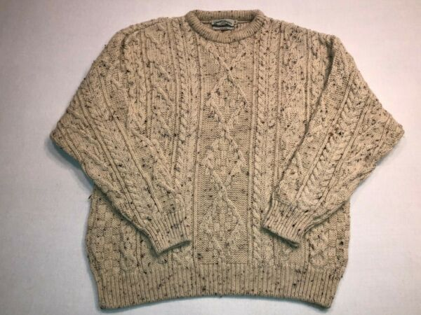 ARAN CRAFTS IRELAND PURE WOOL CABLE KNIT IVORY OATMEAL SPECK SWEATER WOMEN'S XXL