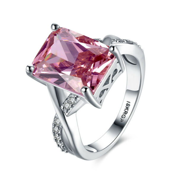 Romantic Silver Pink Sapphire Heart Ring Wedding Engagement Women Jewelry