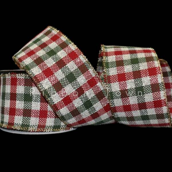 25 Feet Christmas Red Green Country Plaid Jute Burlap Like Wired Ribbon 2 1 2quot;W
