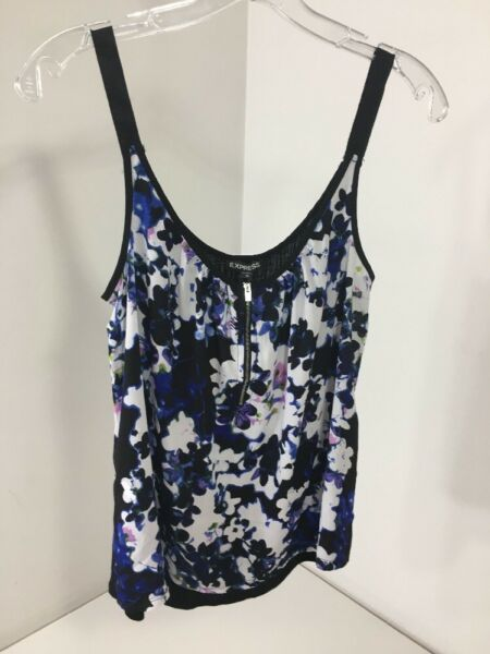 EXPRESS WOMEN'S FLORAL CAMI BLKWHTCOBALT MED NWT $60