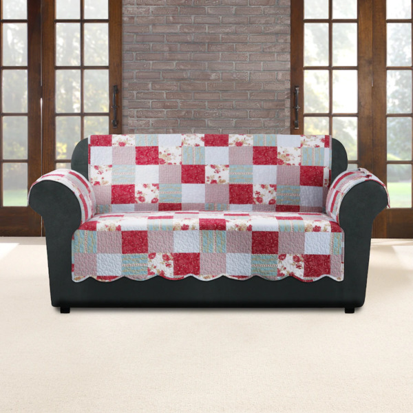 SureFit Heirloom Quilted Sofa Pet Slipcover with Arms Cottage Patchwork New $37.99
