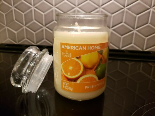 Yankee Candle FRESH CITRUS Scent Candle Large Glass Tumbler WHITE Soy Wax 19 OZ