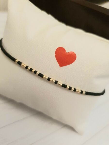 Tiny delicate bracelet Layering beaded gold and black Morse code personalized GBP 6.40