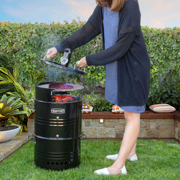 Multi Function Barrel Pit Charcoal Smoker Grill BBQ Pizza Oven Table amp; Fire Pit