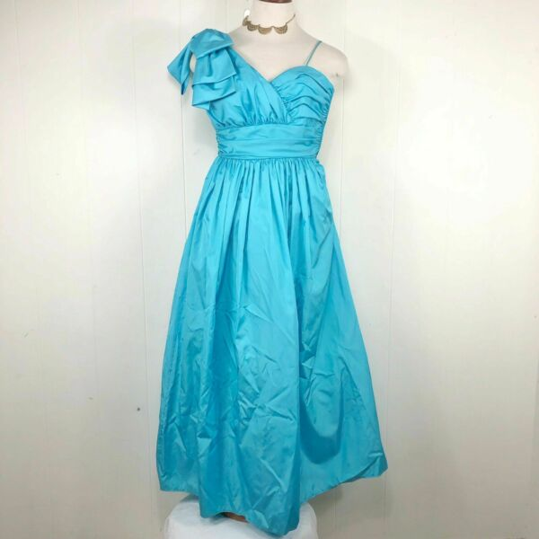 VTG Light Blue Puff Sleeve 80s Prom Cocktail Dress Bow Pageant Size 8 10
