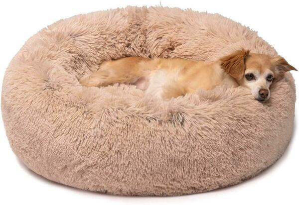 Friends Forever Donut Cat Bed Faux Fur Dog Beds for Medium Small Dogs Self Wa $34.20