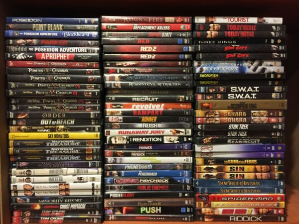 ACTION movies. PICK and CHOOSE 248 Action dvd lot--Save on Shipping-
