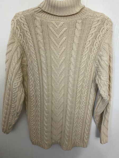 Talbots S Cable Knit Turtleneck Sweater Ivory Cotton Euc
