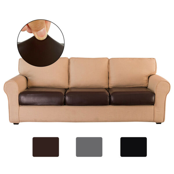PU Leather Sofa Couch Seat Cushion Covers Stretchy Slipcover Furniture Protector $15.99