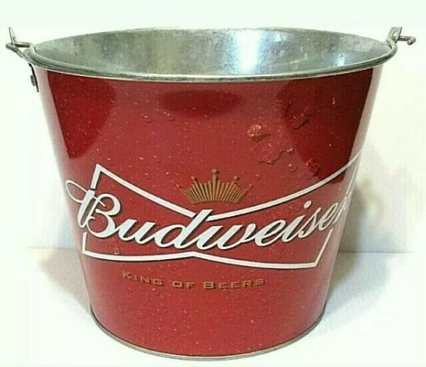 Budweiser Metal Beer Ice Bucket Pail Double-Sided 5 Quart