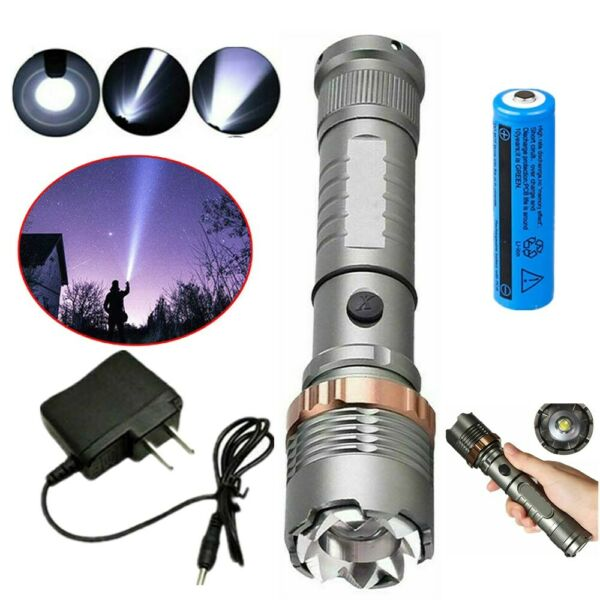 990000LM Tactical T6 LED Focus Flashlight Camping Rechargeable Torch+Batt+Char