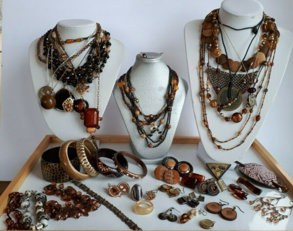 Lot 50 pcs Vintage now brown color Jewelry Necklace Earrings Bracelets Boho Chic