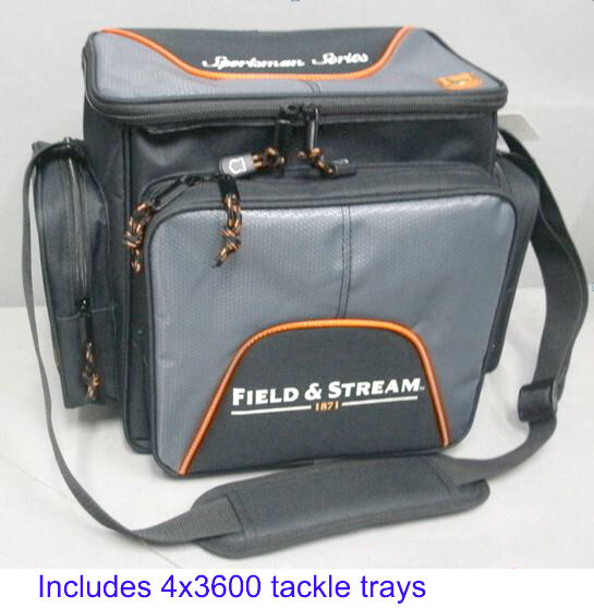 Field amp; Stream Fishing Tackle Carry Bag w 4 3600 Lures StowAway Storage Boxes