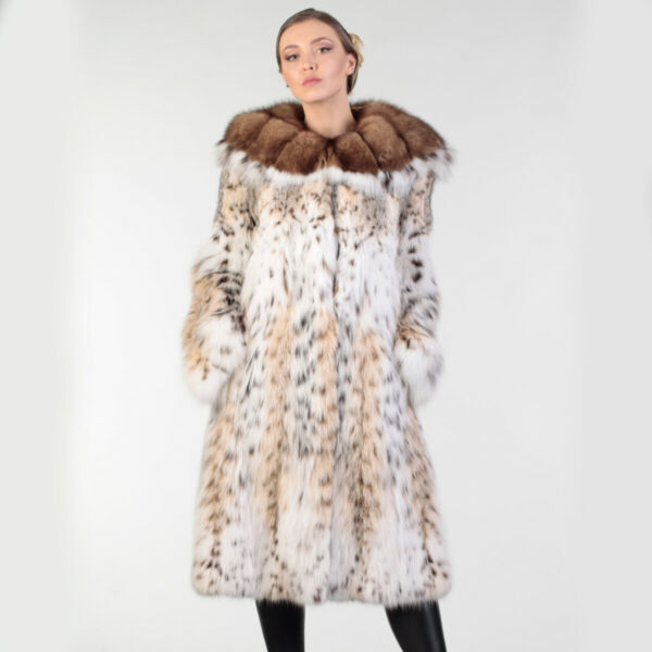 Lynx Fur Coat with Sable Hood 34 Length Premium European Fur