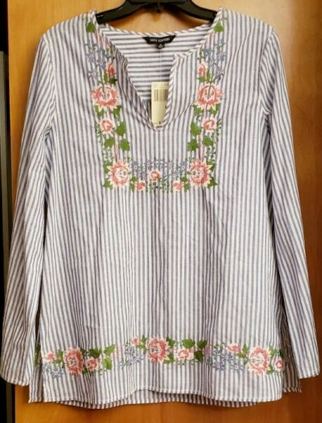Max Edition Blue White Striped Split Neck Top with Floral Embroidery M NWT