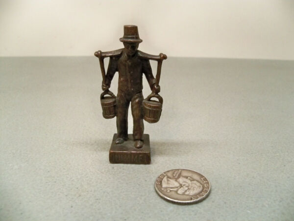 Vintage Hummel Mors Small Metal Man Carrying Water Pails Figure wTophat