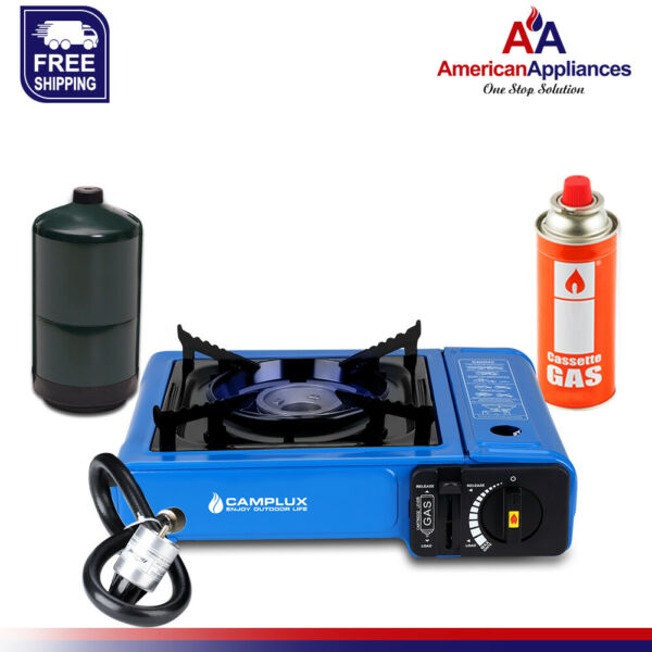 Camplux New Dual Fuel Propane amp; Butane Portable Outdoor Camping Gas Stove Blue