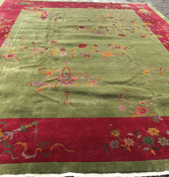 ART DECO CHINESE RUG AN ATTRACTIVE EMERALD GREEN ART DECO DESIGN CHINESE RUG