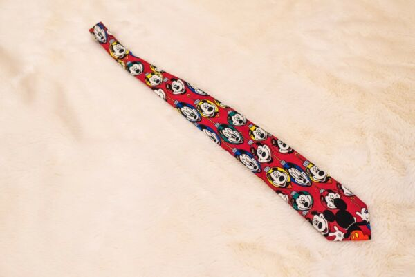 Disney Unlimited Tie Red Mickey Mouse Christmas Ornaments Reflection Wide VTG