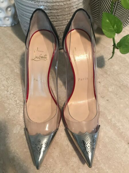 "Christian Louboutin Djalouzi PVC 4"" Pump 37 1 2 Never worn New $500.00"