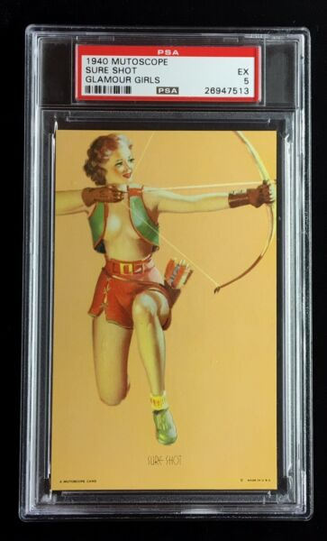 1940 EX EXHIBIT  ARCADE MUTOSCOPE CARD *SURE SHOT* CHEESECAKE PSA 5