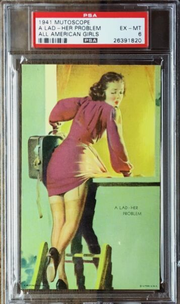 1941 PSA 6 EX-MT EXHIBIT  ARCADE MUTOSCOPE CARD *A LAD-HER PROBLEM* CHEESECAKE