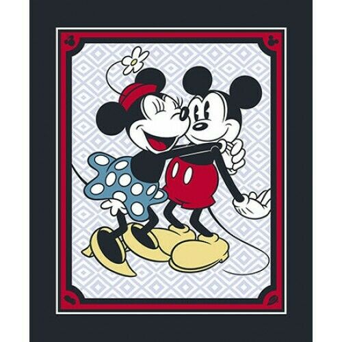 LARGE DISNEY#x27;S MICKEY amp; MINNIE MOUSE VINTAGE PANEL QUILTS HOME DECOR CRAFTS #2
