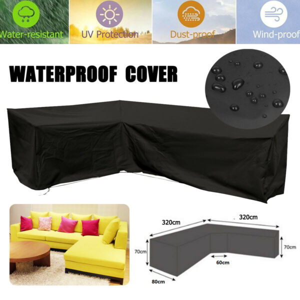320x320cm L Shape Sofa Cover Patio Outdoor Garden Furniture Waterproof $50.05