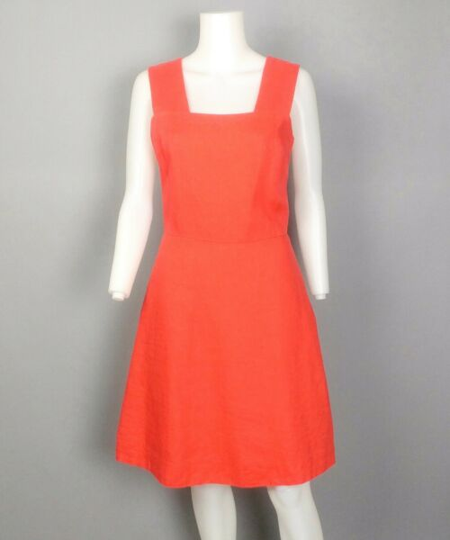 GAP NWT Coral Orange 100% Linen Fit amp; Flare Dress w Pockets Sleeveless Sz 6 Tall $28.99