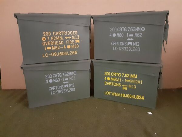 AMMO CAN ( 4 PACK ) ONCE USED MILITARY 7.62  30 Cal M19A1  ** FREE SHIPPING**